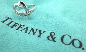 $2200 TIFFANY & CO Paloma Picasso Heart Diamond 18K White Gold Ring Size 4