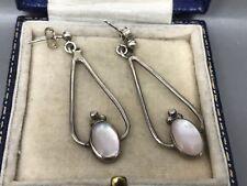 Lovely Modernist Mother of Pearl & Sterling Silver Earrings