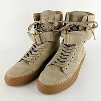 BUSCEMI Ronnie Fieg Tan Leather Italian Ultra High Top Buckle Sneakers Size 45