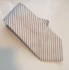 E Viet Nam Vietnam Striped Silk Necktie White Blue Striped Wide Neck Tie