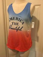 AMERICA THE BEAUTIFUL Red White Blue Tank Top Shirt Womens XS