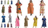 Femmes Caftan Plage Vêtement Boho Indien Coton Desseré Été Gratuit Taille Robe