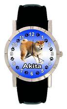 Akita Dog Mens Ladies Genuine Black Leather Band Quartz Wrist Watch SA1060