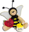BELLY BEAR BEE Personalized Valentine Ornament Handmade Polymer Clay by Deb  Co