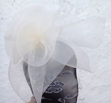ivory fascinator millinery burlesque wedding hat ascot race bridal british