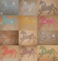 HORSE L 1col IRON-ON RHINESTONE CRYSTAL  BLING TSHIRT TRANSFER PATCH Applique