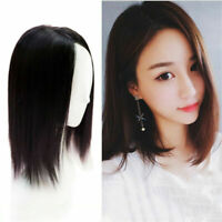 Middle Part Clip in  Synthetic Mono Topper Hair piece For Cover Grey/White Hair