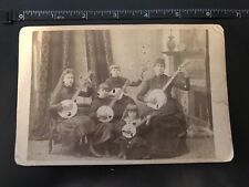 Shepard Family Girls With Banjos Music Cabinet Card Vintage Photo Photograph