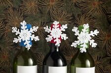 Lantern Moon Handcrafted Wine Bottle Topper - White Snowflake with Blue Base