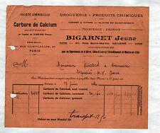 """NEVERS (58) CARBURE de CALCIUM """"BIGARNET Jeune"""" en 1920"""