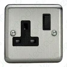 VARILIGHT Switched Socket 1 Gang 13 Amp Brushed Matt Chrome Black Insert XS4B
