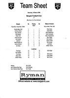 Teamsheet - Margate v Walton & Hersham 2005/6