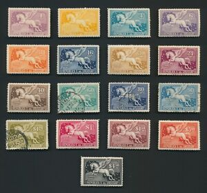 URUGUAY STAMPS 1929 1st AIRMAIL PEGASUS SET MAINLY MINT OG TO Sc #C59, F/VF