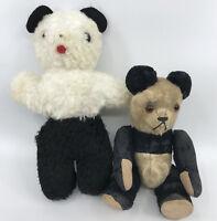 Vintage Panda Bear x 2 Teddy 1 worn rod jointed 1 unjointed Glass Eyes 8in As Is