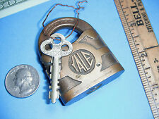 Antique Lock and Key Yale and Towne Standard All Brass Lever Lock & Key tool