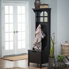 Black Entryway Slim Hall Tree Storage Bench Home Living Room Furniture