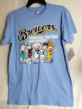 Brewers Famous Racing Sausages blue T-Shirt Milwaukee Genuine Merch Size L (25