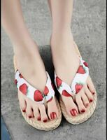 Cute NEW Strawberry Graphic Flip Flop Sandal Thongs Size US 8, EUR 39