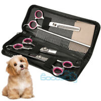 """7""""Professional Pet Dog Grooming Scissors Set Straight Curved Thinning Shears Kit"""