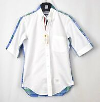 NWT MSRP: $495 Thom Browne Bicolor Point Size 1 S Shirt Grosgrain Madras Blue