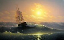 Evening sailboat waves Oil Painting HD Print Picture on canvas 16x24 Inches L069