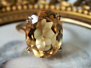 Gorgeous 1960's Vintage Citrine Oval Solitaire Cocktail Ring 9ct Gold Size L