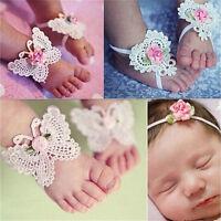 3x/Set Newborn Baby Girls Butterfly Headband Headdress Foot Flower Photo Prop  F