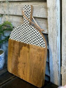 Rustic Geometric Wooden Chopping Board Meat Bread Pastry Cutting Food Kitchen