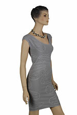 Stella & Minx Grey Microfibre Evening Bodycon Cocktail Party Day Work Dress