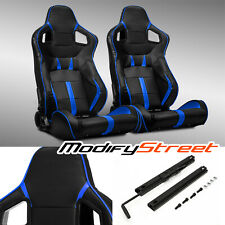 2 x BLACK/Blue STRIP PVC LEATHER LEFT/RIGHT SPORT RACING BUCKET SEATS + SLIDER