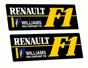 Williams Renault F1 Racing Rally Car fan Sticker Black Bac x2 each 85mm long F1