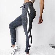 Women High Waist Stretch Side Striped Leggings Fitness Yoga Pants Sport Trousers