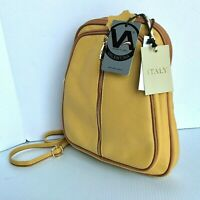 Valentina Leather Dome Backpack Gold Yellow Separating Zipper New $250