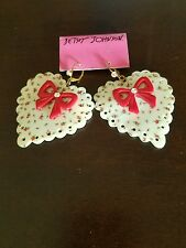 Betsey Johnson Vintage Rosebud Rose Shell HUGE Heart Red Lucite Bow Earrings