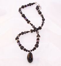 Tektite Pendant with Obsidion and Crystal Beads