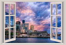 Seattle Skyline Ferris Wheel Skyline Window Color Wall Sticker Mural 36x24