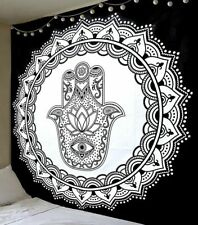 Indian Mandala Tapestry Fatima Hand Hamsa Wall Hanging Black And White Wall Art