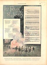 Les feux de la Saint-Jean de Pierre Barbier Musique Henri Maréchal GRAVURE 1896