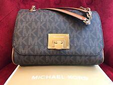 NWT MICHAEL KORS SIGNATURE PVC VIVIANNE MD SHOULDER FLAP BAG IN BROWN (SALE!!)