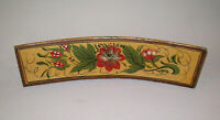 Vtg Antique 19th C 1850s Folk Art Hand Painted Chair Crest Rail Fragment Tulips
