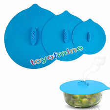 "Steam Ship Silicone Steamer Lid Pot Hot Cover Kitchen Blue 6""~11"" Three Sizes"