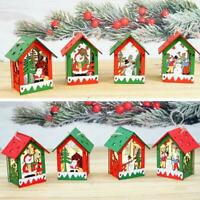 Cute LED Light Wooden Dolls Christmas Ornaments Xmas Tree Home Hanging Decor