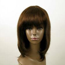 Perruque afro femme 100% cheveux naturel mi long châtain ref ISA 01/6