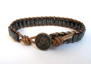 Great Gift Men's Women's Horse Bracelet Bronze Leather Black Magnet