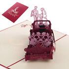 Vintage Wedding Car 3D Pop Up Greeting Card Wedding Valentine Invitation