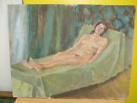 MID CENTURY OIL ON CANVAS BOARD A VIEW OF RECLINING NUDE LADY BY D.B. ASHWOOD