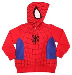 Marvel Toddler & Little Boys Spiderman Costume Hoodie Full Zip Jacket Sizes 2T-7