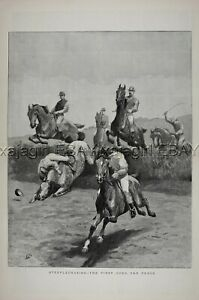 HORSE RACING Steeplechase Fall First Jump, Huge Double-Folio 1880s Antique Print