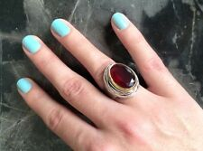 925 Sterling Silver Handmade Antique Turkish Ruby Ladies Ring Size 7-9