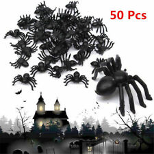NEW 50pcs Halloween Spider Decoration Black Plastic Fake Toys Joke Prank Props